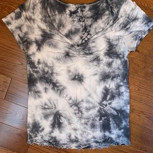 Tie dyed  t shirt.Short sleeve .Grey , white